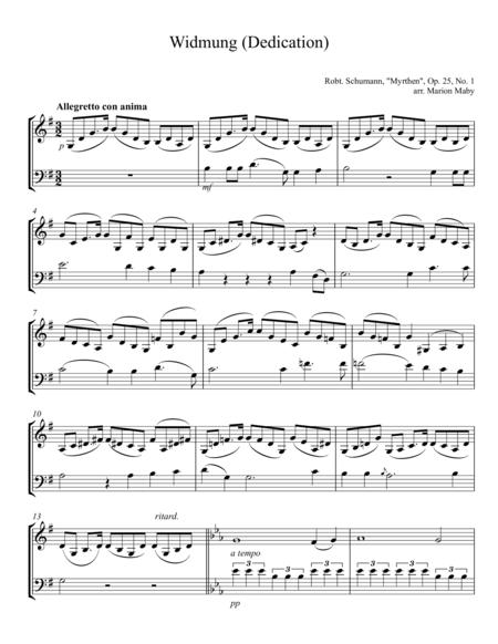 Widmung (Dedication) by Robert Schumann, arr. for violin & cello duet