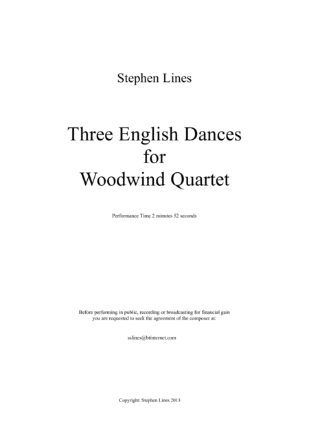 Three English Country Dances for Woodwind Quartet