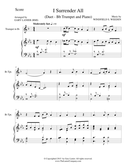 I SURRENDER ALL (Duet – Bb Trumpet and Piano/Score and Parts)