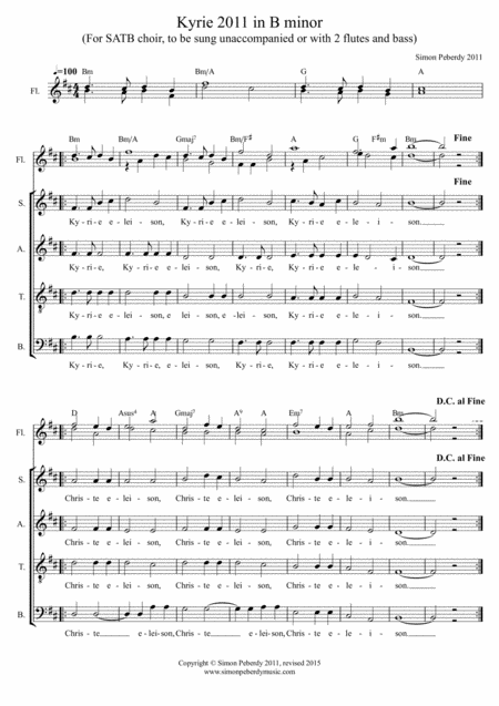Kyrie Eleison (2011) in B minor for SATB (and optional flutes)