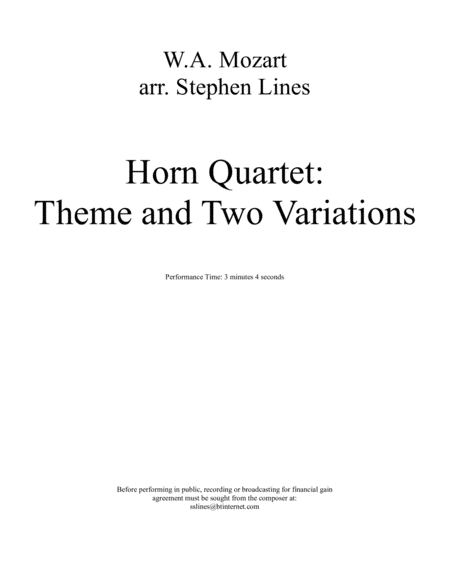 Theme and Two Variations for Horn Quartet