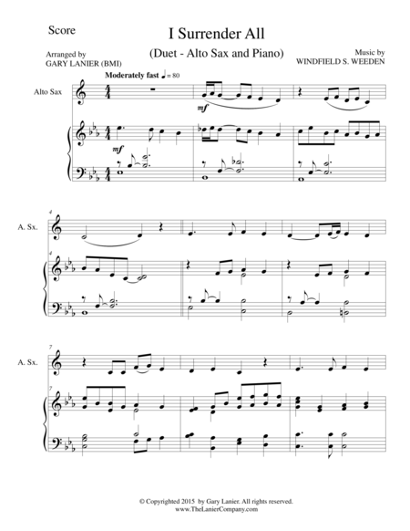 I SURRENDER ALL (Duet – Alto Sax and Piano/Score and Parts)