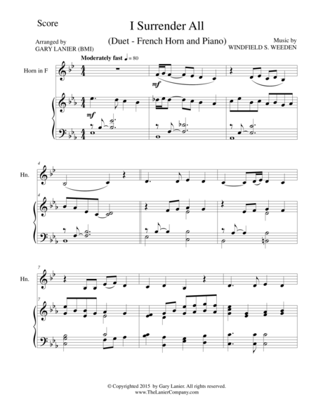 I SURRENDER ALL (Duet – French Horn and Piano/Score and Parts)