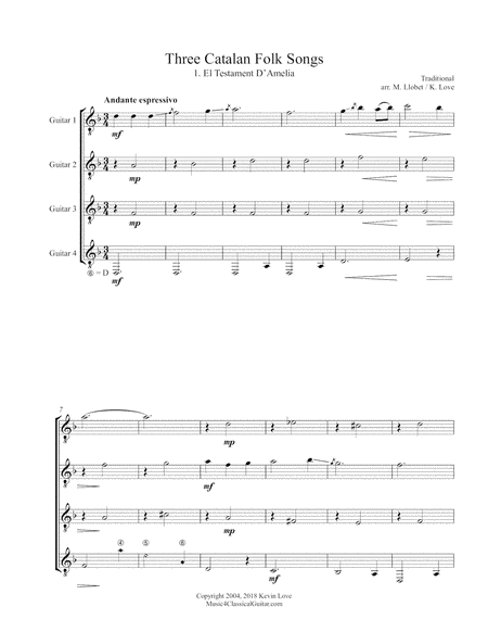 Three Catalan Folk Songs (Guitar Quartet) - Score and Parts