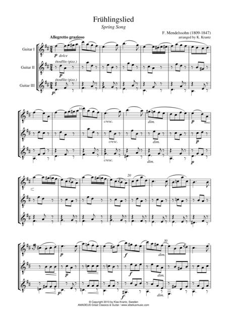 Fruhlingslied / Spring Song for guitar trio
