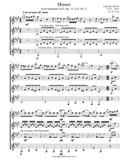 Minuet (Guitar Quartet) - Score and Parts
