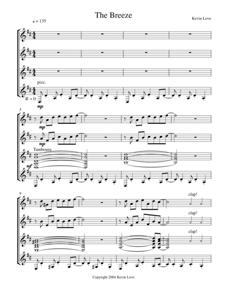 The Breeze (Guitar Quartet) - Score and Parts