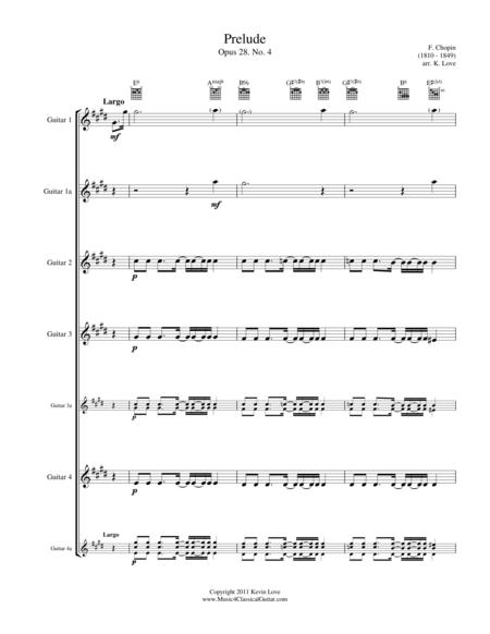(Bossa) Prelude No. 4 (Guitar Quartet) - Score and Parts