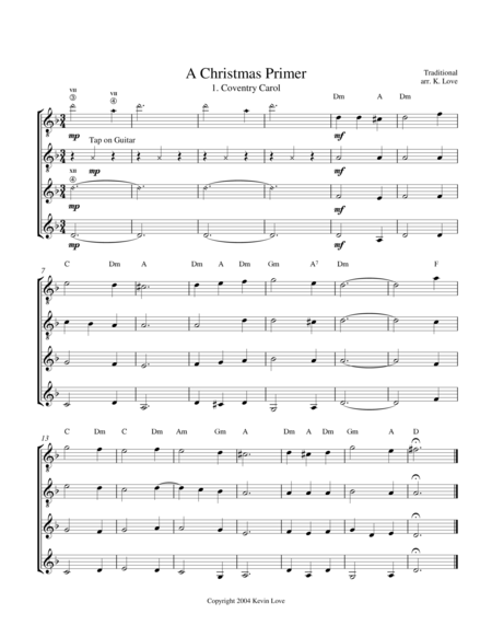 A Christmas Primer (Guitar Quartet) - Score and Parts