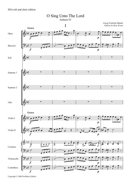 O Sing Unto The Lord, Anthem IV, full score