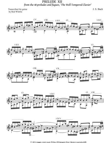 Prelude XII from the 48 preludes and fugues, 'The Well Tempered Clavier'