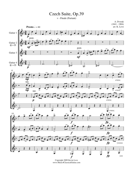Czech Suite - v - Furiant (Guitar Quartet) - Score and Parts