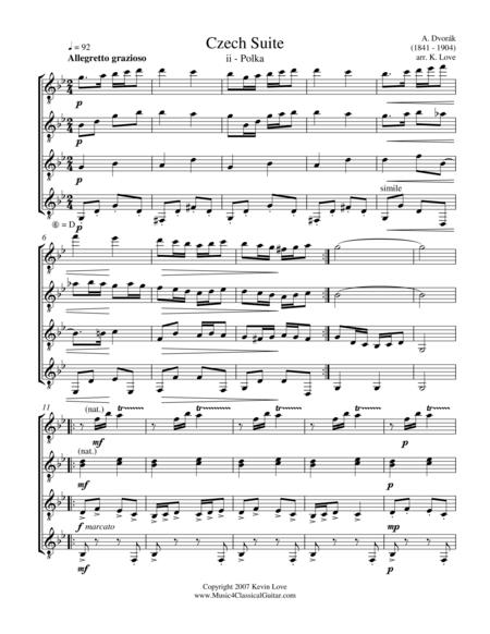 Czech Suite - ii - Polka (Guitar Quartet) - Score and Parts