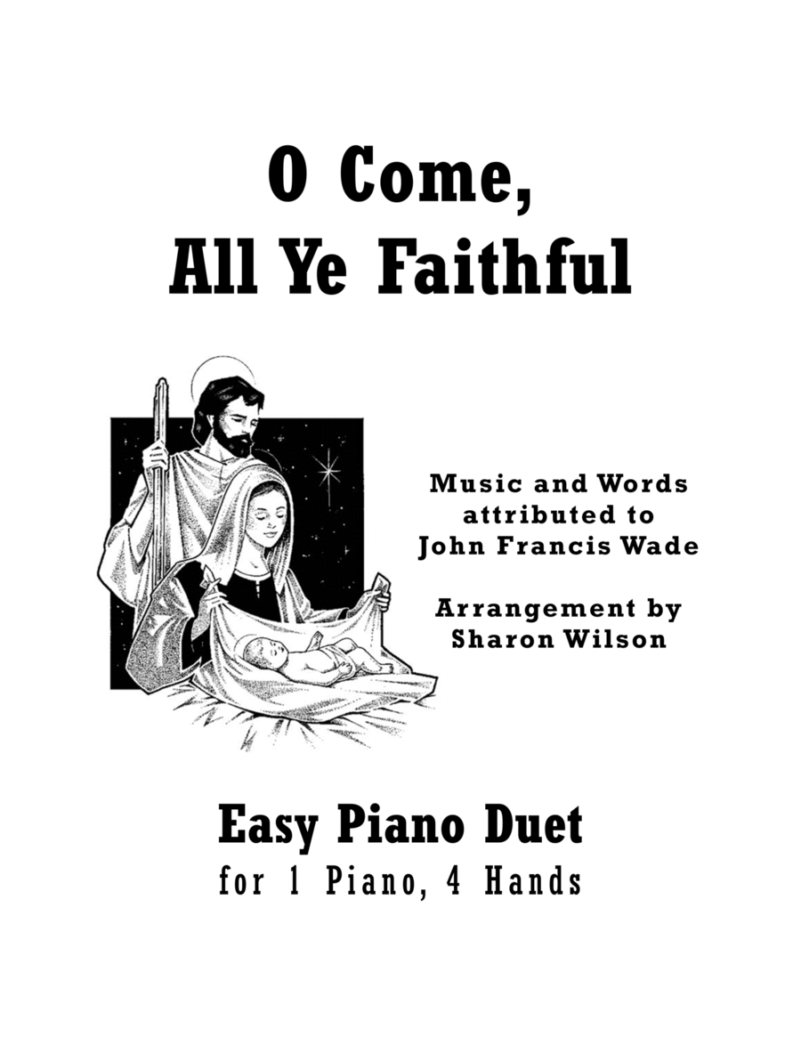 O Come, All Ye Faithful (Easy Piano Duet; 1 Piano, 4 Hands)