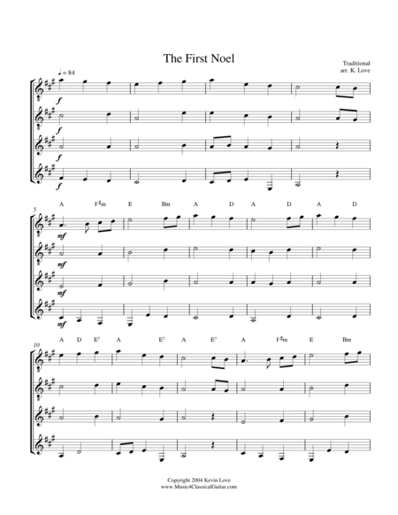 The First Noel (Guitar Quartet) - Score and Parts
