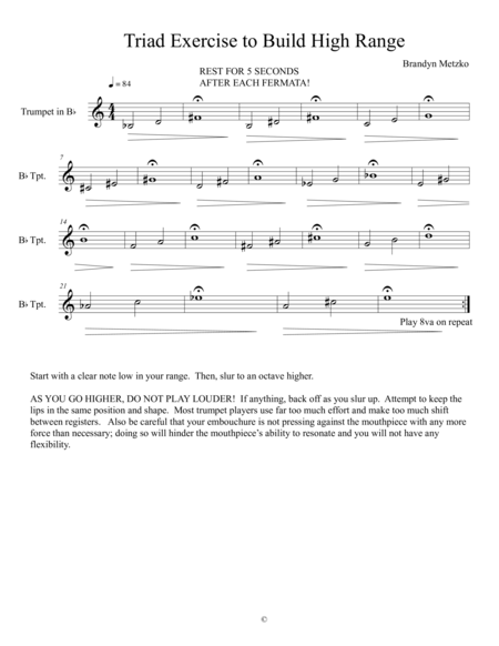 Triad Exercise to Develop Trumpet High Range