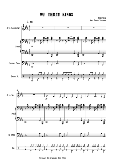 We Three Kings for Jazz Combo (Alto Sax, Piano, Bass, Drums)