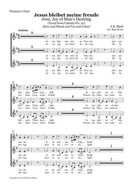 Jesus bleibet meine freude / Jesu, Joy of Man's Desiring / SSA Choir part