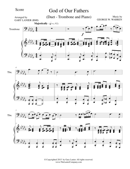 GOD OF OUR FATHERS (Duet – Trombone and Piano/Score and Parts)
