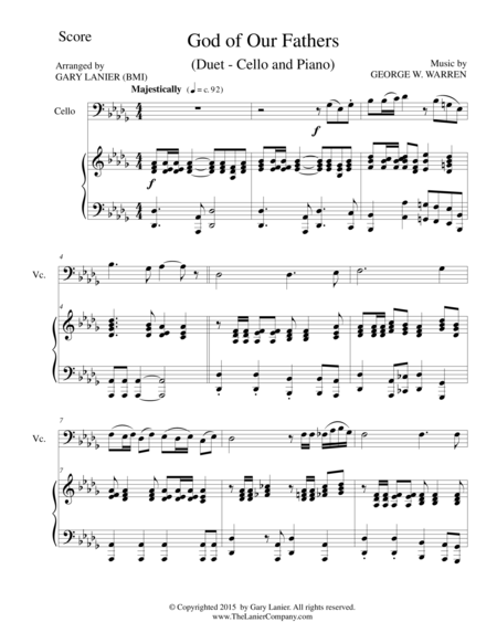 GOD OF OUR FATHERS (Duet – Cello and Piano/Score and Parts)