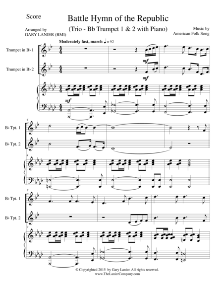 BATTLE HYMN OF THE REPUBLIC (Trio– Bb Trumpet1, Bb Trumpet 2 with Piano/Score and Parts)