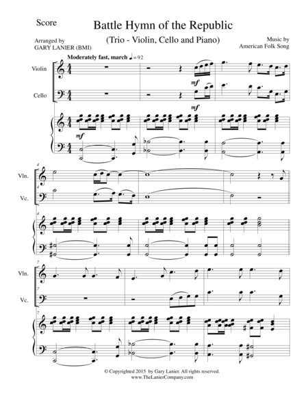 BATTLE HYMN OF THE REPUBLIC (Trio– Violin, Cello and Piano/Score and Parts)