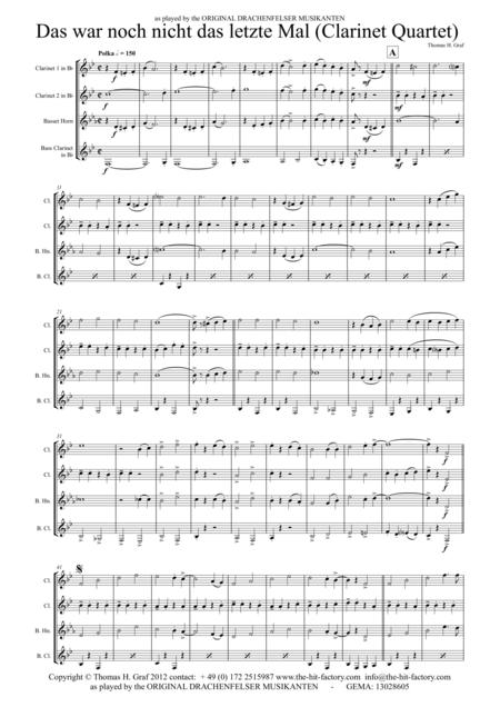 Das war noch nicht das letzte mal - German Polka - Oktoberfest - Clarinet Quartet