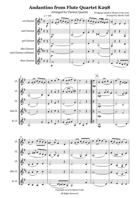 Andantino from Flute Quartet K298 Arranged for Clarinet Quartet