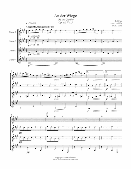 An Der Wiege (By the Cradle) (Guitar Quartet) - Score and Parts