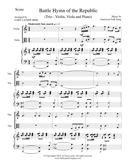 BATTLE HYMN OF THE REPUBLIC (Trio– Violin, Viola and Piano/Score and Parts)