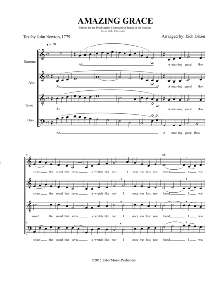 Amazing Grace for SATB