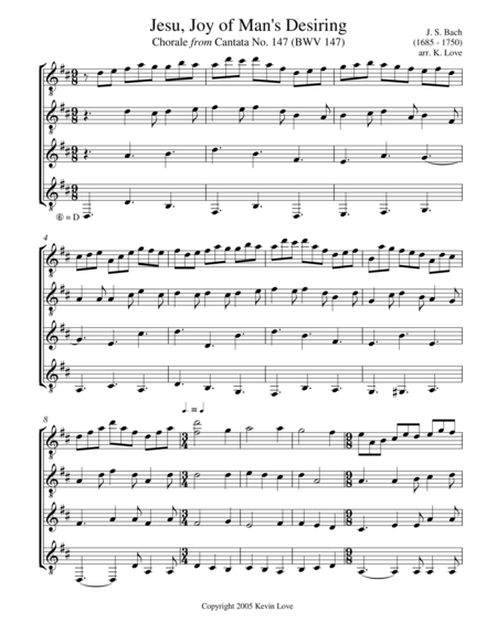 Jesu, Joy of Man's Desiring (Guitar Quartet) - Score and Parts
