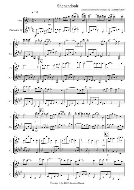 Shenandoah for Flute and Clarinet