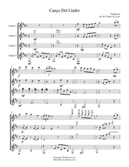 Canço del Lladre (Guitar Quartet) - Score and Parts