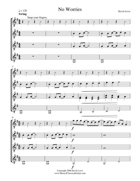 No Worries (Guitar Quartet) - Score and Parts