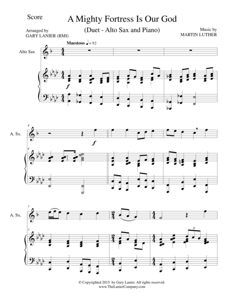 A MIGHTY FORTRESS IS OUR GOD (Duet – Alto Sax and Piano/Score and Parts)