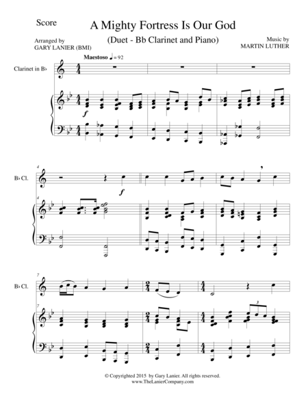 A MIGHTY FORTRESS IS OUR GOD (Duet – Bb Clarinet and Piano/Score and Parts)