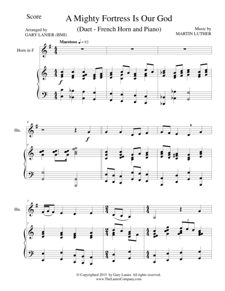 A MIGHTY FORTRESS IS OUR GOD (Duet – French Horn and Piano/Score and Parts)