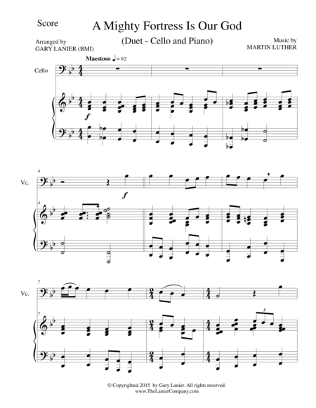 A MIGHTY FORTRESS IS OUR GOD (Duet – Cello and Piano/Score and Parts)