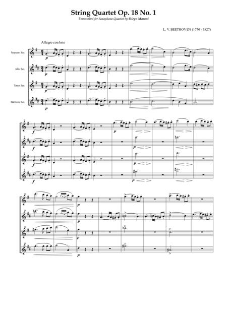 String Quartet Op. 18 No. 1 for Saxophone Quartet (SATB)