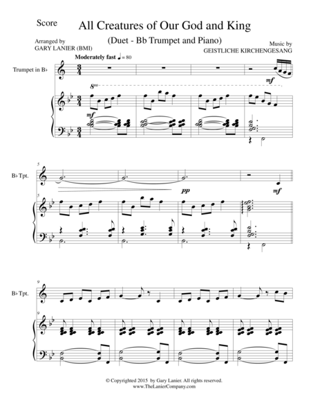 ALL CREATURES OF OUR GOD AND KING (Duet – Bb Trumpet and Piano/Score and Parts)