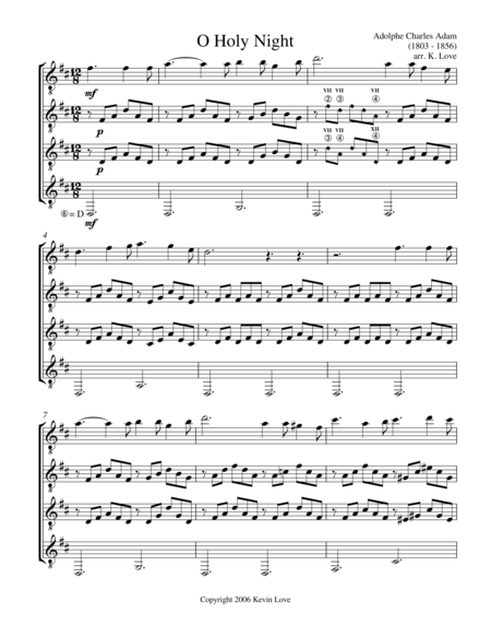 O Holy Night (Guitar Quartet) - Score and Parts
