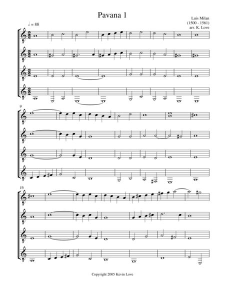 Pavana 1 (Guitar Quartet) - Score and Parts