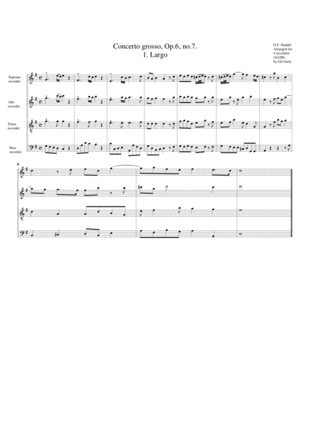 Concerto grosso, Op.6, no.7 (arrangement for 4 recorders)