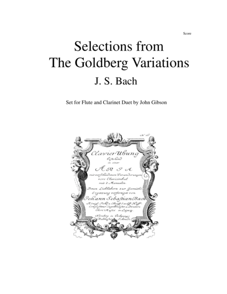 Flute and clarinet duet - Selections from Bach's Goldberg Variations