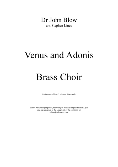 Venus and Adonis for Brass Choir
