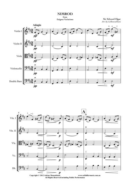 Nimrod, from Enigma Variations, by Sir Edward Elgar. Arranged for String Orchestra by Adrian Mansukhani