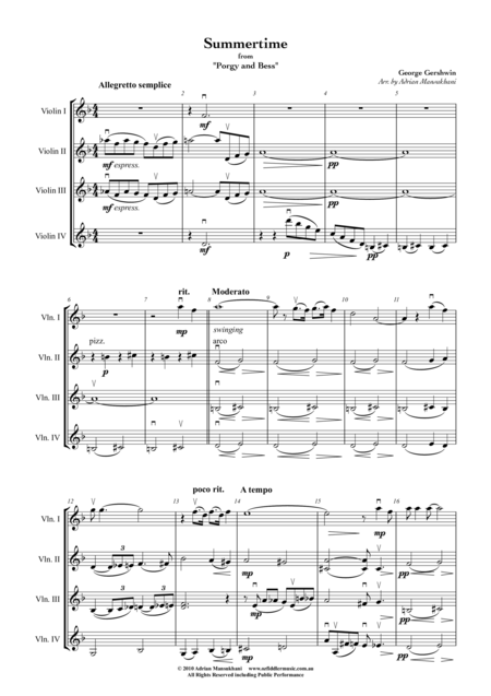 Summertime, from Porgy and Bess, by George Gershwin, arranged for 4 Violins by Adrian Mansukhani