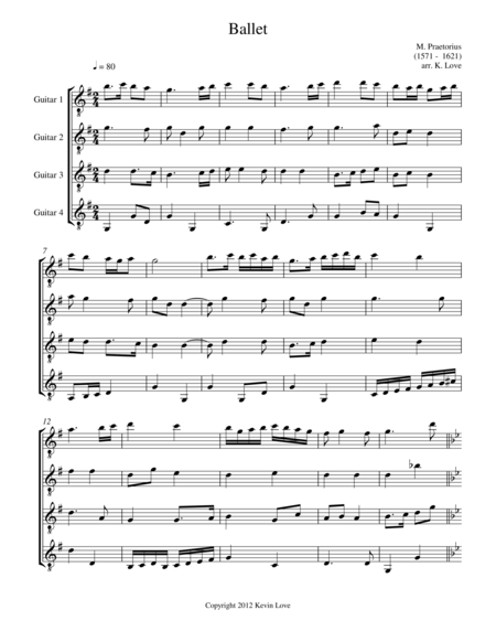 Ballet (Guitar Quartet) - Score and Parts