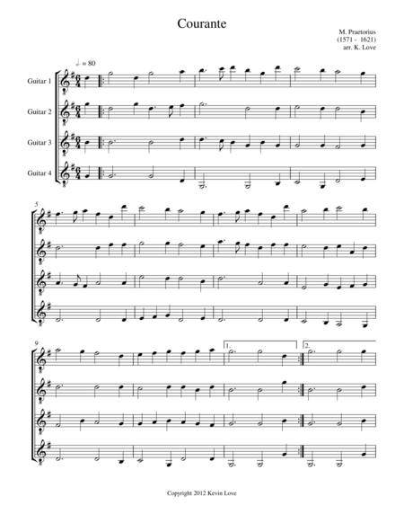 Courante (Guitar Quartet) - Score and Parts